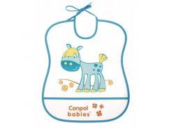 Мягкий пластиковый слюнявчик, бело-бирюзовый с лошадкой, Canpol babies
