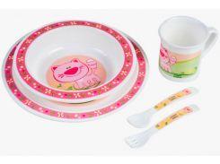 Набор посуды Cute Animals пластиковый с розовым котиком, Canpol babies