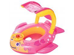 Надувной плотик с навесом, Рыбка, розовый, Bestway