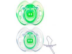 Ортодонтические пустышки Дышащие зеленые, 0-6 месяцев, 2 штуки, Tommee Tippee