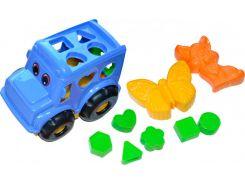 Песочный набор, Автобус (синий) с вкладышами и 2 пасочками, Numo toys