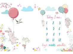 Плед фотофон Кролики для детей от 0 до 12 мес, 100 × 150 см, Baby Foto Fon