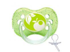 Пустышка Nature силиконовая круглая, зеленая с яблоком, 18 мес, Canpol babies