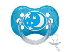 Пустышка Nature силиконовая круглая, синяя со звездочками, 18 мес, Canpol babies
