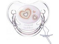 Пустышка Newborn baby силиконовая симметрическая, белая с сердечками, 0-6 мес, Canpol babies