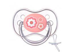 Пустышка Newborn baby силиконовая симметричная, розовая с цветочками, 18 мес, Canpol babies