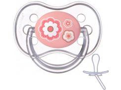 Пустышка Newborn baby силиконовая симметричная, розовая с цветочками, 6-18 мес, Canpol babies