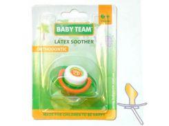 Пустышка латексная (салатовый цвет), ортодонтическая, Baby Team