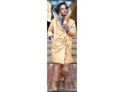 Пуховик двусторонний, 100 см, серый-желтый, оверсайз, Home Story