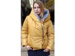 Пуховик двусторонний, 65 см, серый-желтый, оверсайз, Home Story