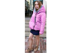 Пуховик двусторонний, 65 см, серый-розовый, оверсайз, Home Story