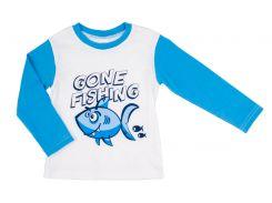 Реглан для мальчика Gone fishing, Danaya, бело-голубой (98 р.)