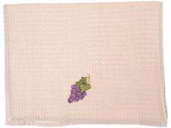 Салфетка вафельная, 40 на 60, цвет бежевый с виноградом, Gurdal