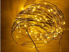 Светодиодная гирлянда-нить для улицы под навесом, 10 метров, 12 вольт, желтая, IP44, Ecolend