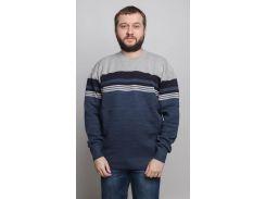 Свитер с круглым горлом тонкой рельефной вязки, Ligis, светло-серый с синим низом (56)