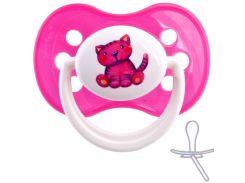 Силиконовая симметричная пустышка (розовый котик), 0-6 мес.,  Canpol Babies