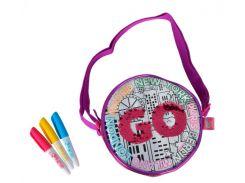 Сумочка-раскраска Хамелеон, круглая, кожзам, 3 маркера, Color Me Mine