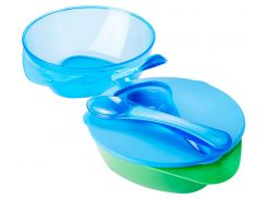 Тарелочка глубокая с крышкой и ложечкой, 2 штуки голубая и салатовая, Tommee Tippee