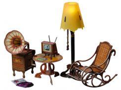 Торшер и обстановка, Коллекционный набор сборной мебели из картона, Умная бумага