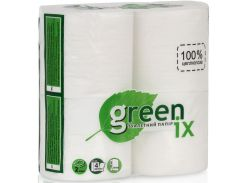 Туалетная бумага, 20 метров в рулоне, 4 рулона в упаковке, целлюлоза, Greenix