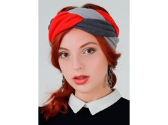 Тюрбан косичка My Scarf, красно-серый (1009)