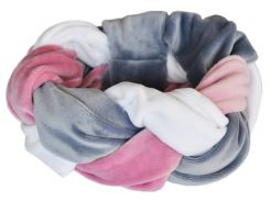 Тюрбан косичка My Scarf, серо-бело-розовый (1004)
