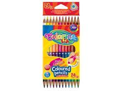 Карандаши цветные двухсторонние трехгранные (12 штук, 24 цвета), Colorino