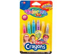 Краски для лица Metallic, 6 карандашей, Colorino