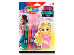 Мел для волос в форме карандашей с расческой, 5 цветов, Colorino