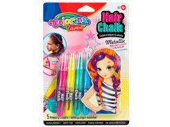 Металлизированный мел для волос в форме карандашей с расческой, 5 цветов, Colorino