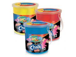Мелки цветные Jumbo в ведерке (12 штук, 6 цветов), Colorino