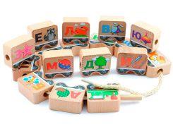 Шнуровка-алфавит Паровозик, Мир деревянных игрушек