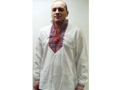 Рубашка мужская Krayka-opt Атаман лён белая с красным XL (R_D_32R_3_W_XL)