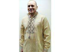 Рубашка мужская Krayka-opt Козак лён коричнево-белая L (R_D_30BrW_3_W_L)