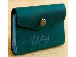 Визитница Gridasov Leathercraft Foliant из натуральной кожи зеленая (CR-001-GR)