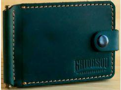 Зажим для купюр Gridasov Leathercraft Cowboy Plus из натуральной кожи зеленый (WL-004-GR)