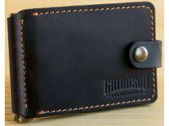 Зажим для купюр Gridasov Leathercraft Cowboy Plus из натуральной кожи темно-коричневый (WL-004-DBR)