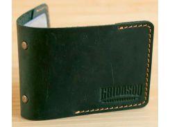 Кардхолдер Gridasov Leathercraft Quadro из натуральной кожи зеленый (CR-010-GR)