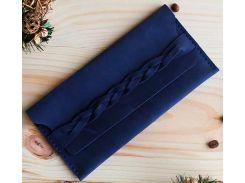 Клатч-кошелек Gridasov Leathercraft Braidy из натуральной кожи синий (WL-007-BL)
