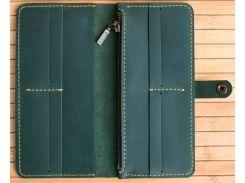 Кошелек Gridasov Leathercraft Blur из натуральной кожи зеленый (WL-009-GR)