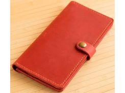 Кошелек Gridasov Leathercraft Blur из натуральной кожи красный (WL-009-RD)