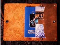 Обложка для паспорта Gridasov Leathercraft Manhattan из натуральной кожи коричневая (CV-005-BR)