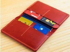 Обложка на два паспорта Gridasov Leathercraft Traveler из натуральной кожи красная (CV-008-RD)