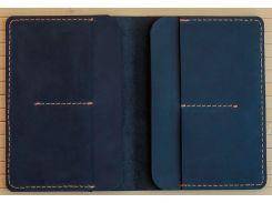 Обложка на два паспорта Gridasov Leathercraft Traveler из натуральной кожи синяя (CV-008-BL)
