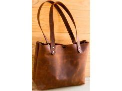 Сумка шоппер Gridasov Leathercraft Simplicity из натуральной кожи коричневая (BG-020-BR)