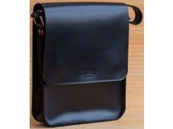 Сумка-планшет для тетрадей Gridasov Leathercraft Brick из натуральной кожи черная (BG-031-BK)