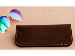 Чехол для очков Gridasov Leathercraft Protectus из натуральной кожи темно-коричневый (CS-009-DBR)
