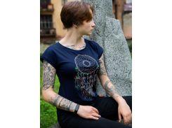 Женская футболка с вышивкой Batiar Ловец снов темно-синяя XL (Ловець_снів_2_XL)