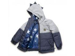Куртка Модный карапуз Дино серо-синяя для мальчика 110 см (03-00957-0_110)