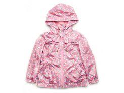 Куртка-ветровка Модный карапуз розовая для девочки с цветочным принтом 128 см (03-00696-2_128)